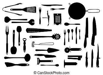 equipo de cocina, y, cubiertos, silueta, conjunto
