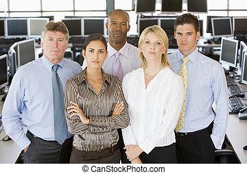 equipo, de, comerciantes acciones