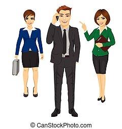equipo, de, confiado, joven, empresarios
