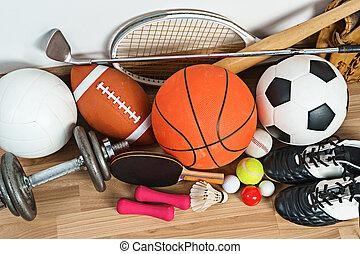 equipo de deportes, en, de madera, plano de fondo