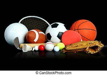 equipo de deportes, en, fondo negro