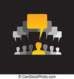 equipo, de, empleados, comunicarse, discutir, y,...