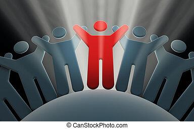 equipo, de, gente, con, manos arriba