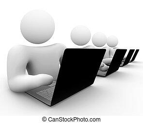 equipo, de, gente, trabajo encendido, computadoras de computadora portátil