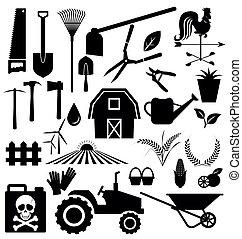 equipo de granja, conjunto, vector, agrícola