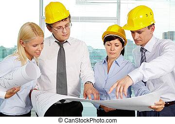 equipo, de, ingenieros