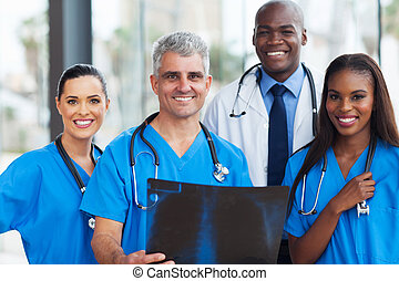 equipo, de, médico, trabajadores