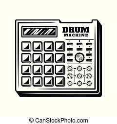 equipo de música, vector, máquina, tambor, productor