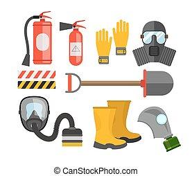 equipo de seguridad, set., protección de fuego, y, fire., un, careta antigás, y, un, fuego, extinguisher., conjunto, bombero, o, rescuer., rescate, tools., seguridad, trabajo
