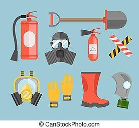 equipo de seguridad, vector, set., protección de fuego, y, fire., un, careta antigás, y, un, fuego, extinguisher., conjunto, bombero, o, rescuer., rescate, tools., seguridad, trabajo