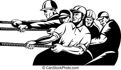equipo, de, trabajadores, tirar, soga