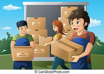 equipo, de, voluntario, trabajar, alimento, donación, centro