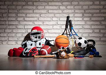 equipo, deportes, piso