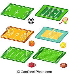 equipo deportivo, campos, y, pelotas