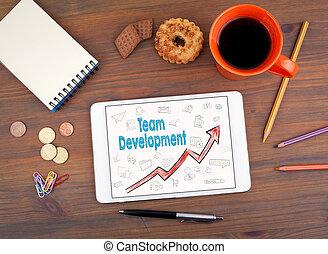 equipo, desarrollo, empresa / negocio, concept., tableta, en, un, viejo, tabla de madera