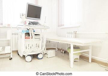 equipo, diagnóstico, ultrasonido