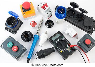equipo, eléctrico, herramientas