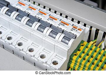 equipo, eléctrico, panel