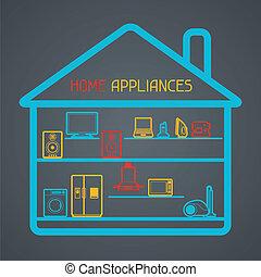 equipo electrónico de casa, aparatos, fondo.