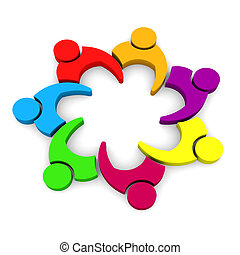 equipo, empresa / negocio, 7, -, 3d, blanco, backgrou