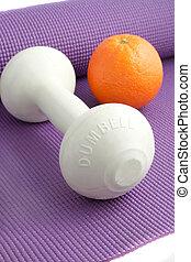 equipo, fruta, ejercicio