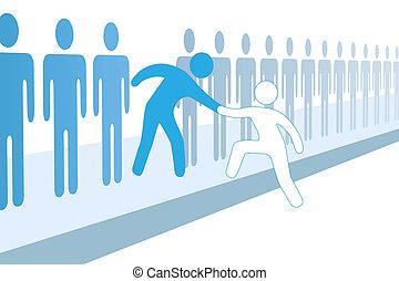 equipo, gente, ayuda, nuevo, miembro, ensamblar, arriba