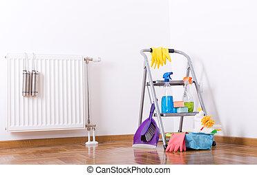 equipo, habitación, suministros, limpieza