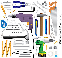 equipo, herramienta, -, ilustración, realista, dyi