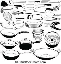 equipo, herramienta, util cocina