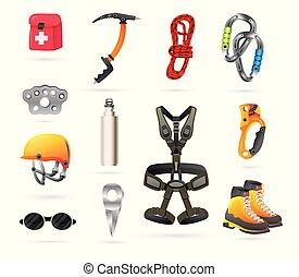 equipo, hiking., set., montañismo, iconos