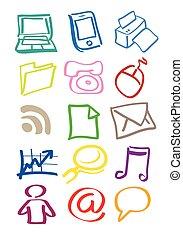 equipo, icono, vector, oficina, doodles