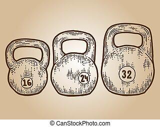 equipo, imitation., weights., deportes, sepia, tabla, grabado, tres, rasguño, bosquejo