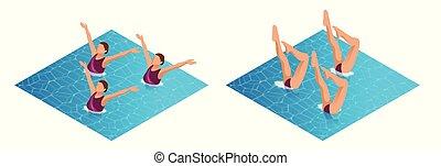 equipo, isométrico, deportista, arte, elements., sincronizado, womans, baile, atleta, amaestrado, agua, rendimiento, nadador, natación