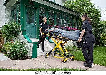 equipo médico, casa, visita