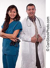equipo médico, multi racial, atractivo