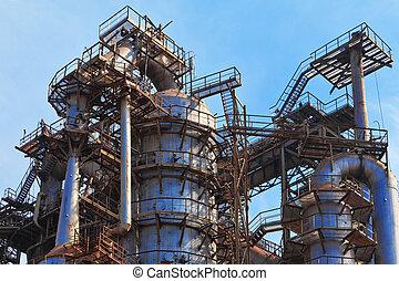 equipo, metallurgical, trabaja