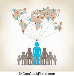 equipo, mujeres, comunicación global