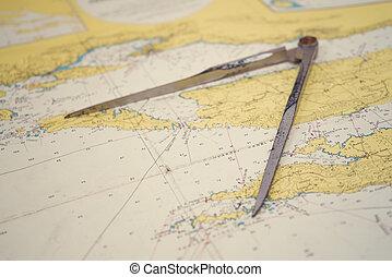 equipo, navegación, map.