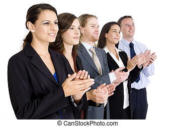 equipo negocio, aplaudiendo