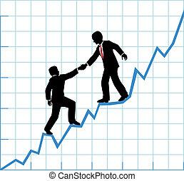 equipo negocio, ayuda, gráfico, compañía, crecimiento