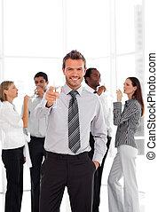equipo negocio, celebrar, éxito