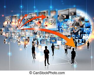 equipo negocio, con, empresa / negocio, mundo, conectado