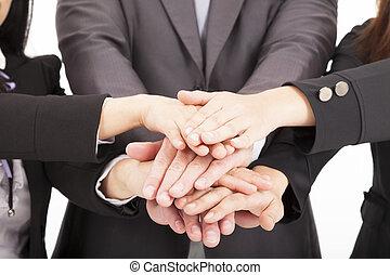 equipo negocio, con, mano, juntos, para, trabajo en equipo,...
