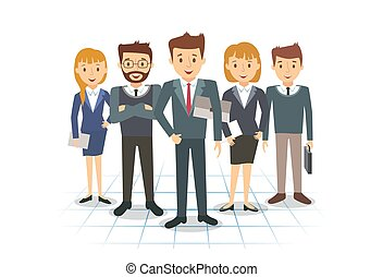 equipo negocio, de, empleados