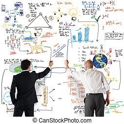 equipo negocio, dibujo, un, nuevo, complejo, proyecto
