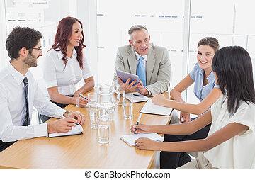 equipo negocio, en, un, reunión
