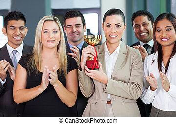equipo negocio, ganando, un, competición