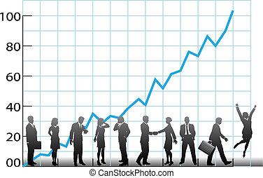equipo negocio, gráfico, compañía, crecimiento
