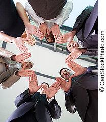 equipo negocio, manos juntos