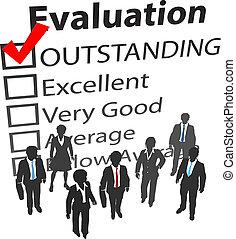 equipo negocio, mejor, recursos humanos, evaluación